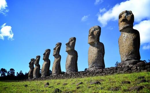 Seven Moai at Ahu Akivi