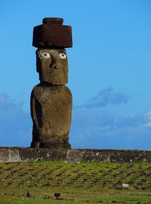 Ahu Ko Te Riku is the only moai on Easter Island that has had its eyes restored to how they probably originally appeared.