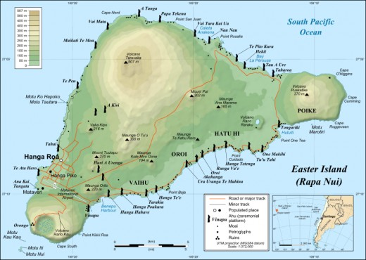 Map of Easter Island showing locations of ahu