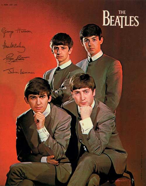 Autographed promotional portrait of The Beatles.