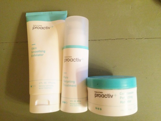 I used the skin smoothing exfoliator, pore targeting treatment, and the complexion perfecting hydrator by Proactiv.