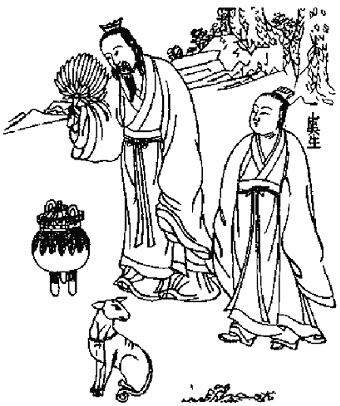 Wei Po-yang with the cauldron, his faithful apprentice, and his dog
