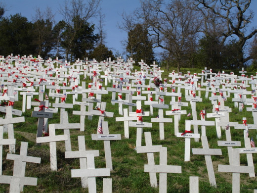 A hill of crosses near my house. One cross for every Iraq War casualty.