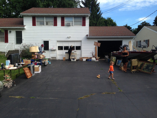 "A good ole' fashioned  garage sale, the yearly ""windfall"" for middle class folks"