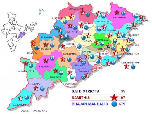 Aunque Odisha tiene 30 distritos políticos, los números de la SSSO son tan enorme que se ha dividido en 35 Sai-Distritos para la gestión adecuada de la SSSO.