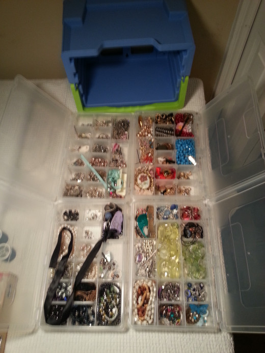 My container, trays pulled out.
