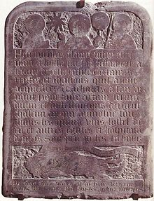 The tombstone of Nicolas Flamel, preserved  at Musee de Cluny in Paris, France.