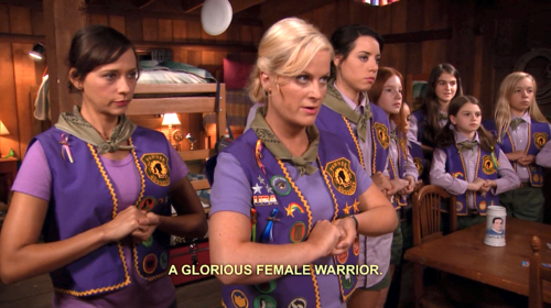Leslie leading her scout troop with Anne and April