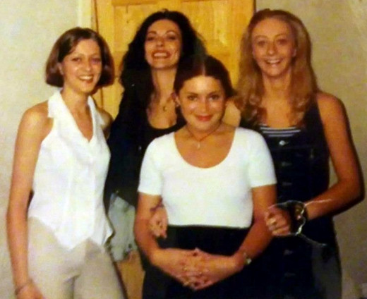 Pictured, from left: Mandie, me, Carol and Julia on a Saturday night out when I was in my 20s.