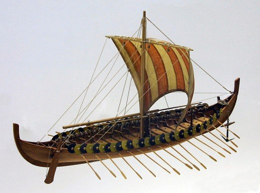 Model of the Gokstad ship - the archetypal warship of the 10th Century