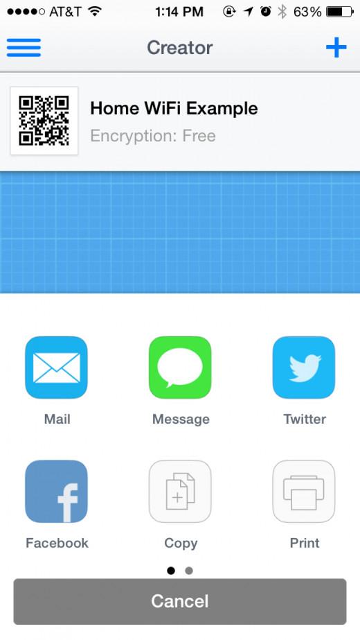 "IMAGE 5 (qr code for iphone ""creator"" wifi share options screenshot)"