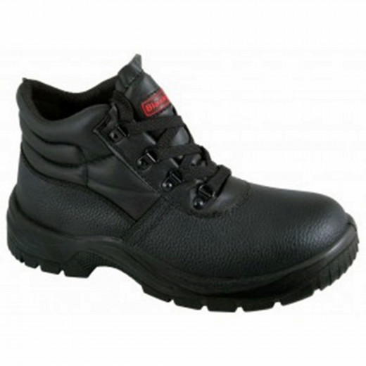 Black, steel toe-cap boots, like the ones I had to wear when I worked in a sweets factory - except mine were three sizes too big.