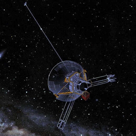 A depiction of Pioneer 11 in deep space. This spacecraft was the first to visit the ringed planet, back in 1972.