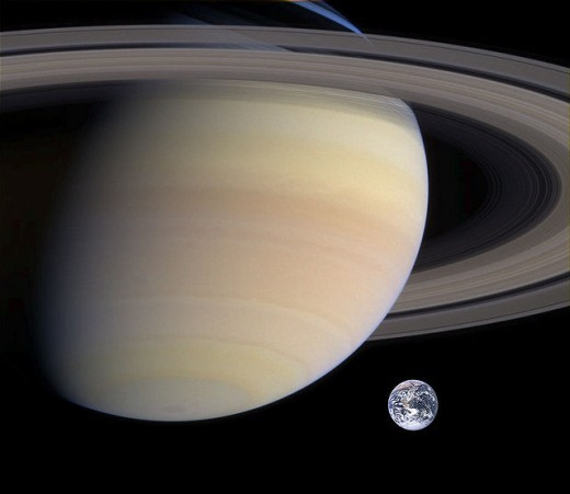 Picture illustrating the relative sizes of Saturn and Earth, giving an insight into the massive scale of the ringed planet.  The gas giant is around 95 times more massive.