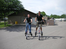 Trikke riders. Unlike the daredevils in the photo, you should ALWAYS wear a bicycle helmet while tricking.