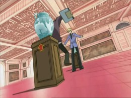 Haruhi knocked over the expensive vase! This is how the whole thing started.