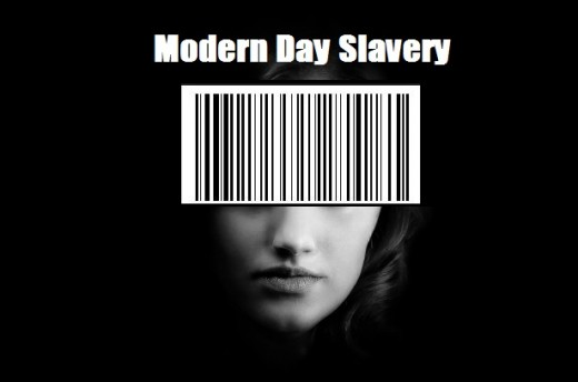 Woman in black and white with barcode symbolizes Human Trafficking.