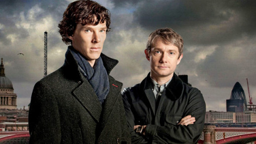 Benedict Cumberbatch and Martin Freeman in the BBC TV series Sherlock