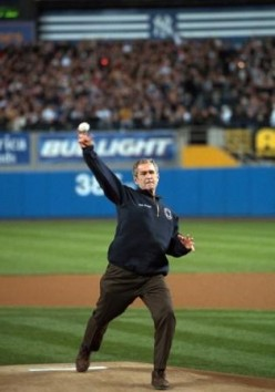 President George W. Bush throws out the first pitch at Yankee Stadium during the 2001 World Series.