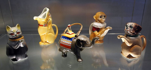 Teapots and milk jugs, produced by Mosa potteries in Maastricht in the 1920s and 1930s, Collection Henk van Buren, now in Centre Ceramique, Maastricht, the Netherlands.