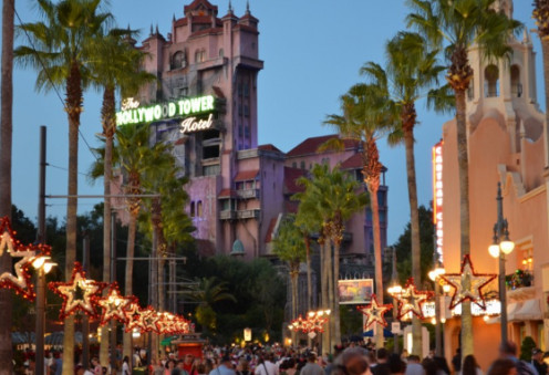 The Hollywood Tower Of Terror at the end of Sunset Boulevard is a top attraction for the nearly 12 million visitors to Walt Disney World's Hollywood Studios in Orlando, Florida. This is the attraction during Thanksgiving Week.