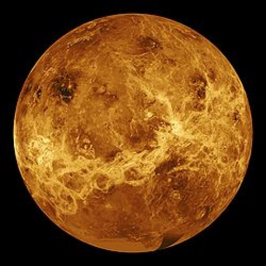 The second planet from the Sun, Venus has no moons. At one time, it was thought that the planet might have life on it but hopes faded after the Soviet Union landed a probe on it. Gravity is similar to Earth, but atmospheric pressure is much greater.
