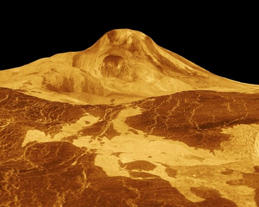 Maat Mons is a massive shield volcano. It is the planet's 2nd highest mountain, and its highest volcano, rising 8 kilometres (5 miles) above the mean planetary radius and almost 5 kilometres above the plains around it.