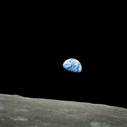 Earthrise, one of the most famous photographs of our world ever taken. It shows The Earth viewed from the surface of the Moon.  Photographs of The Earth from space gave human beings a brand new perspective of their home planet.