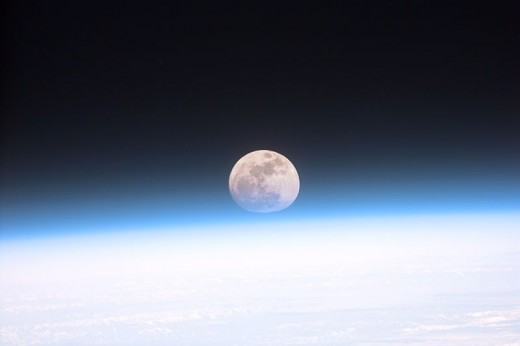 The Moon viewed from Earth.  There are a number of theories regarding how The Moon was formed 4.5 billion years ago. The most widely accepted explanation currently is that it came from the debris of a collision between Earth and a Mars-sized body.