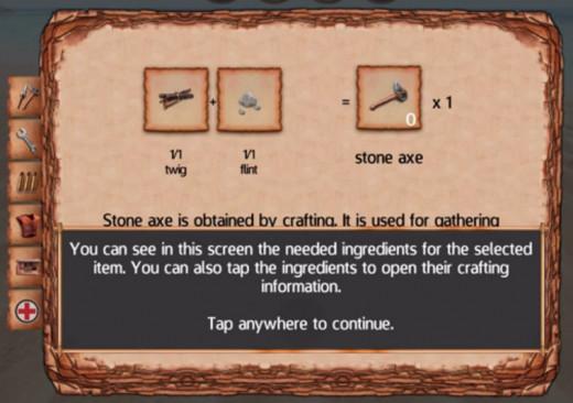 You can now make a stone axe