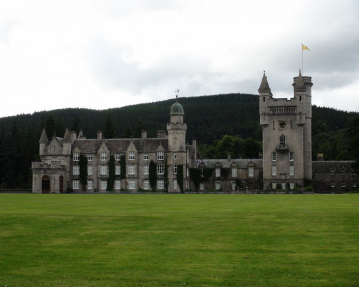 Balmoral Castle - front view.  Another example of the contrast between the colors of the castle and the grass on the front lawn.