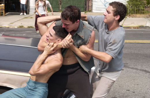 Channing Tatum (Center) as hot-headed Young Antonio, Shia LaBeouf (Right) as Young Dito