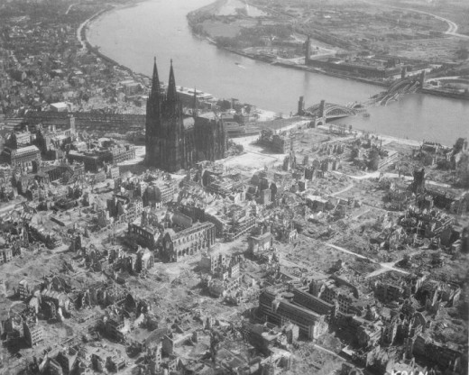A German city carpet bombed by Allied bombers in the Second World War.