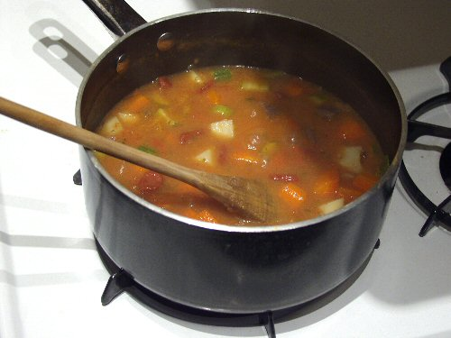 Vegetable soup is a cheap and healthy way to stretch your food budget.