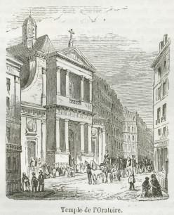 A view of the Temple de l'Oratoire by the rue re Rivoli and the rue Saint-Honoré, 1855