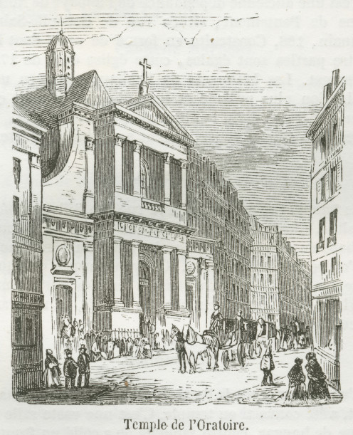 A view of the Temple de l'Oratoire by the rue re Rivoli and the rue Saint-Honoré, 1855