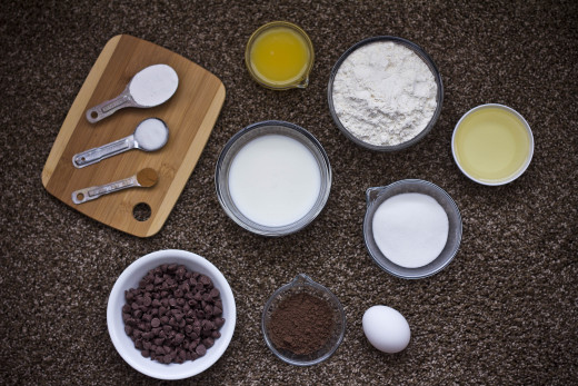 Ingredients for chocolate chocolate chip orange muffins.