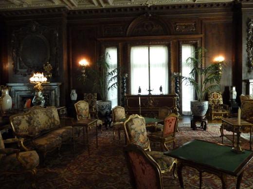 Interior of the Vanderbilt Mansion — Living room with period furniture