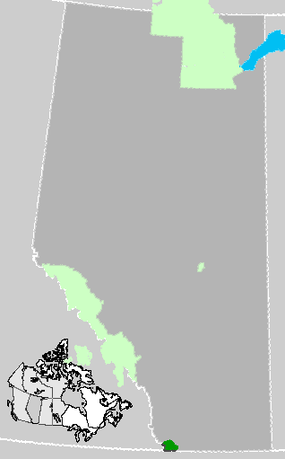 Map location of Waterton Lakes National Park, Alberta, Canada (in dark green)