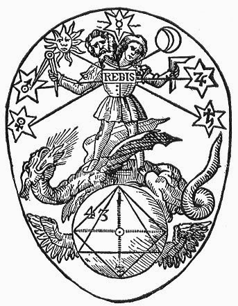 The first known appearance of a square and compass in alchemical tradition, from the Prima Materia in 1613. The hermaphrodite holds the square in one hand and the compass in the other.
