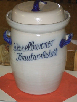 Sauerkraut is often fermented in jars or crocks such as the traditional crock shown here.