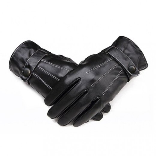 Leather gloves complete the outfit.