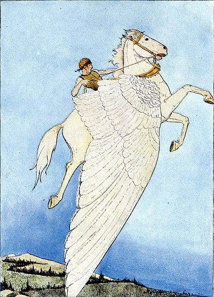 """Yes, there he sat, on the back of the winged horse!"" from Mabie, Hamilton Wright (Ed.): ""Myths Every Child Should Know"" (1914)"