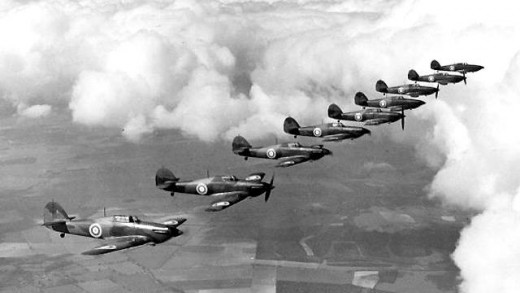 A dogfight is a form of aerial combat between fighter aircraft at short range. Dogfighting first appeared during World War One, but its most famous instance is probably the Battle of Britain during World War Two. Photo: Hawker Hurricanes fly in forma