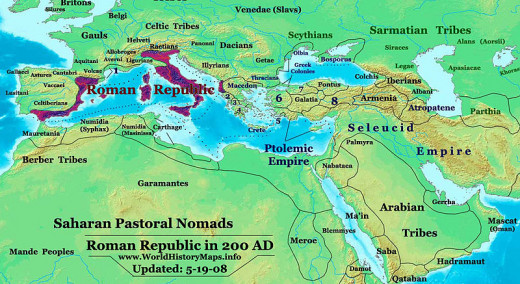 The Roman Republic in 200 BC.
