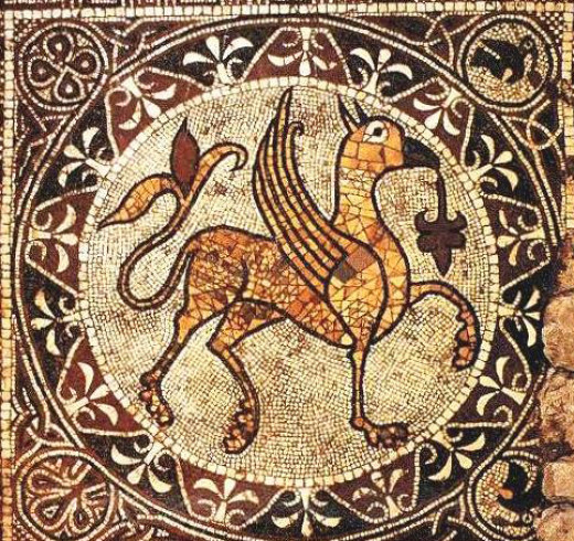 Mosaic of Griffin, discovered in the crypt of the cathedral of Bitonto.