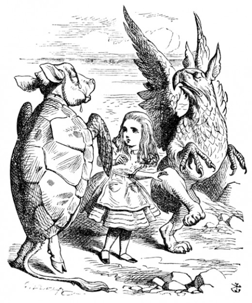 "Dancing the ""Quadrille"" with Alice and the Mock Turtle. John Tenniel`s original (1865) illustration for Lewis Carroll`s ""Alice in Wonderland""."