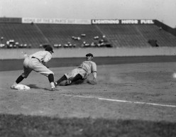 A rare sight: Babe Ruth sliding into 3rd base.  Not sure of the location.