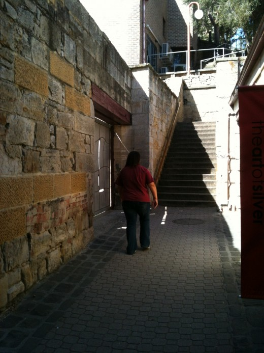 Kellys steps are adjacent to Salamanca Markets leading to historical Battery Point