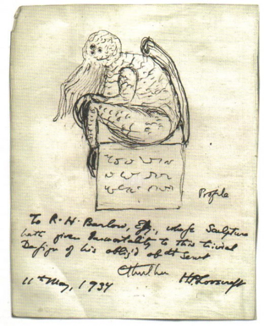 """Cthulhu sketch by Lovecraft"" by Howard Phillips Lovecraft (d. 1937) - http://i206.photobucket.com/albums/bb197/F-N-S/Misc/65129807_dadbb202a6_o.jpg. Licensed under Public Domain via Wikimedia Commons - http://commons.wikimedia.org/wiki/File:Cthulhu_"